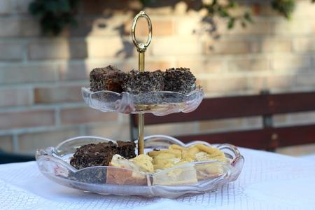 homemade cake: Plateau with homemade cake Stock Photo