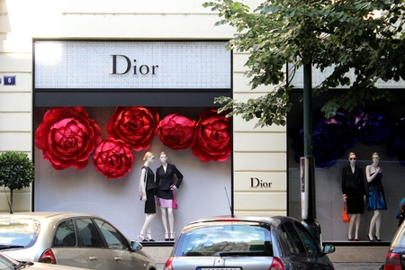 Prague, Czech Republic - May 31, 2014  Christian Dior boutique storefront window on the Paris street in Praque