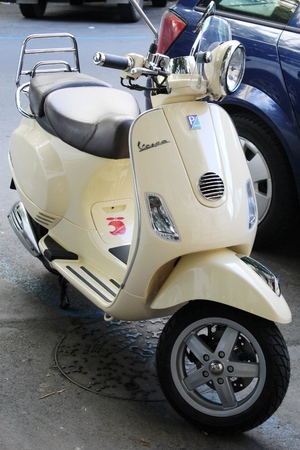 imagery: Praque, Czech Republic - May, 31 2014  Vespa scooter - very popular transport from Italy