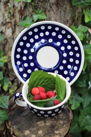 Raspberries in a cup from polish traditional pottery from Boleslawiec   Bunzlau photo