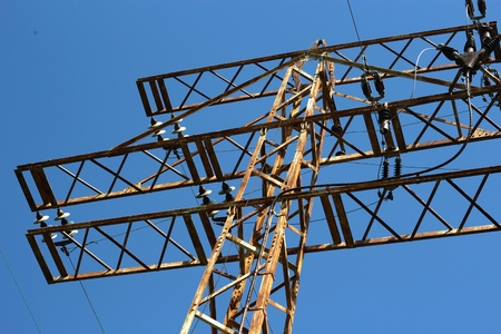 power lines: Power lines and electric pylons