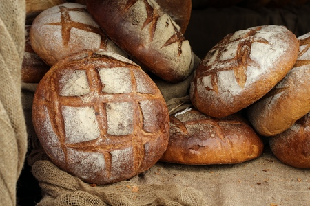grain and cereal products: loaves of bread