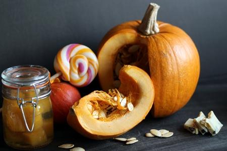 preserves: pumpkin and pumpkin preserves Stock Photo