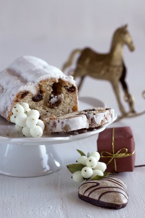 stollen: Stollen Christmas cake fruitcake and gingerbread Stock Photo