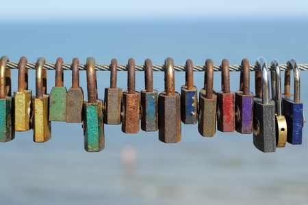 old keys: colorful padlocks - the symbol of love