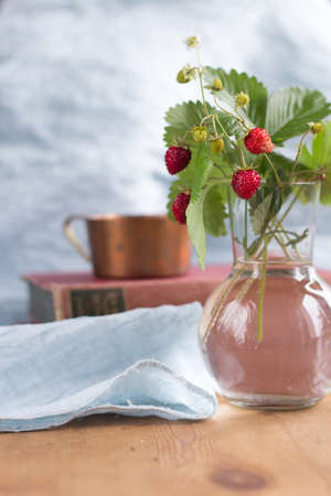 fragaria: woodland strawberry in a glas vase Stock Photo