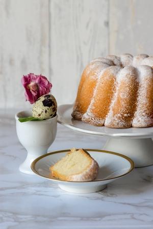 Easter sour cream pound cake and quail egg Banco de Imagens
