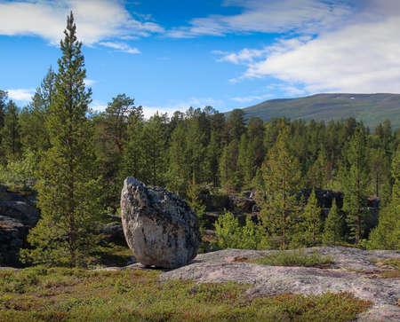 Balancing rock in the Øvre Dividalen national park in northern Norway