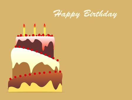 torte: Birthday cake with candles on golden background Stock Photo