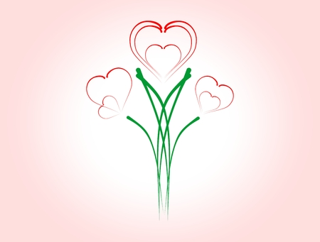 Hearts of flowers on a pink background Illustration