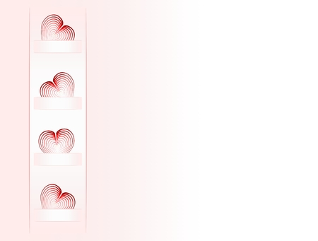 felicitate: Folded hearts on paper tabpink background transition to white Illustration