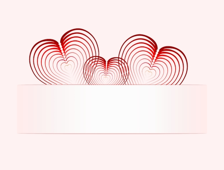 felicitate: Three folded hearts on paper tabpink background transition to white