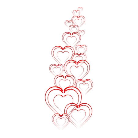 felicitate: Folded hearts in a row progressively to move away