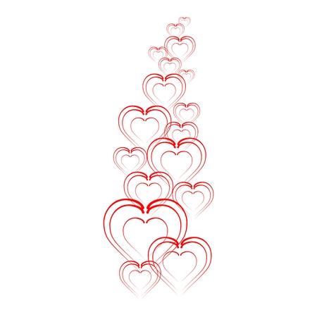 progressively: Folded hearts in a row progressively to move away