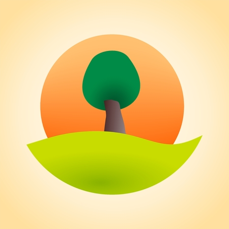 leafy: Green leafy tree at sunset Illustration