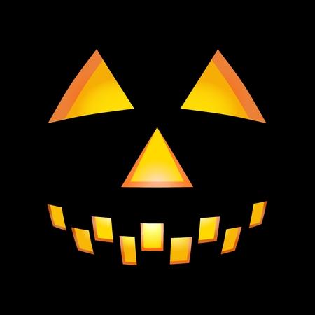 illuminating: Illuminating Halloween rounded face with teeth on black background