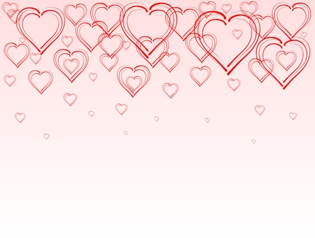 rising: Rising hearts on pink background