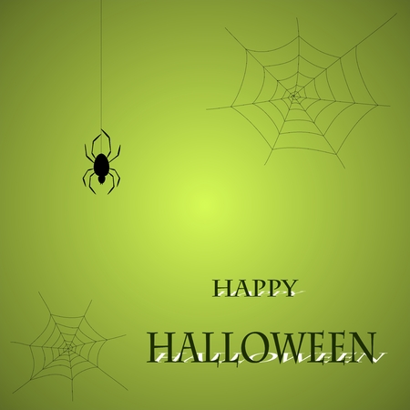 Halloween greeting with spider web and spider on a green background Illustration