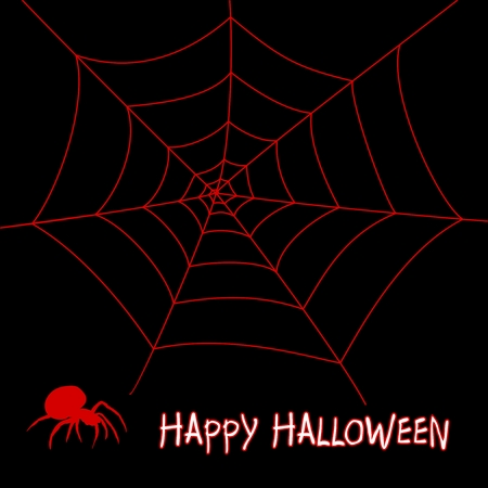 arachnophobia: Halloween greeting with bloody spider and bloody cobweb on a black background