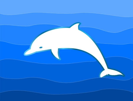 layers levels: Dolphin jumping over waves of water level