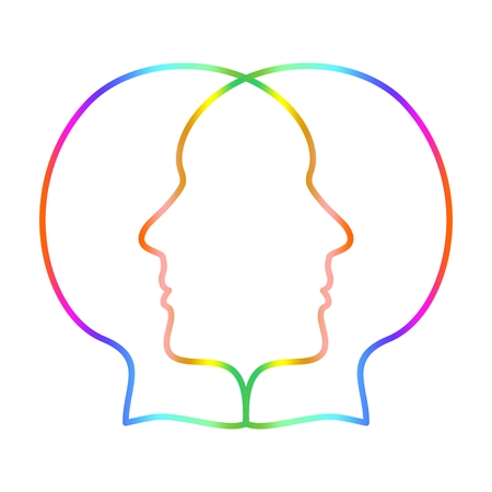 Two colorful overlapping faces on a white background