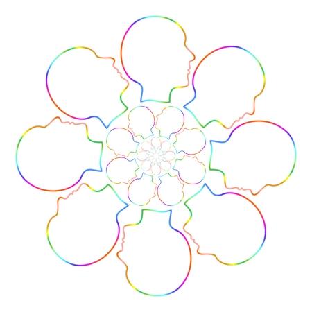 konturen: Farbe Konturen Kopf um in vier Kreise