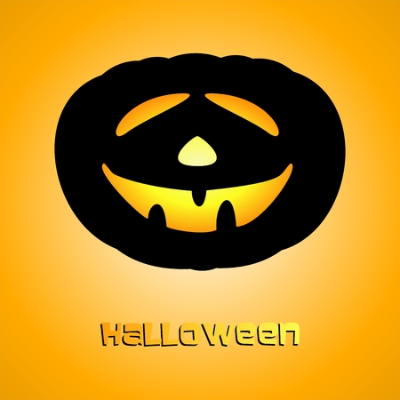 glowing carved: Halloween greeting with illuminating pumpkins on orange background