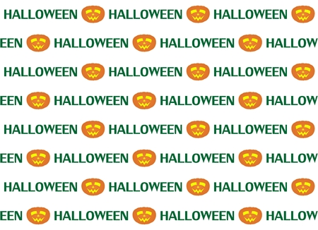 glowing carved: Halloween background with face cut into the pumpkin with a sign on a white background Illustration