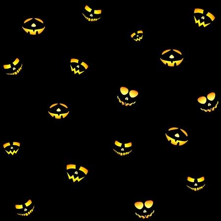 The yellow-orange illuminating the Halloween smiling face on a black background Illustration