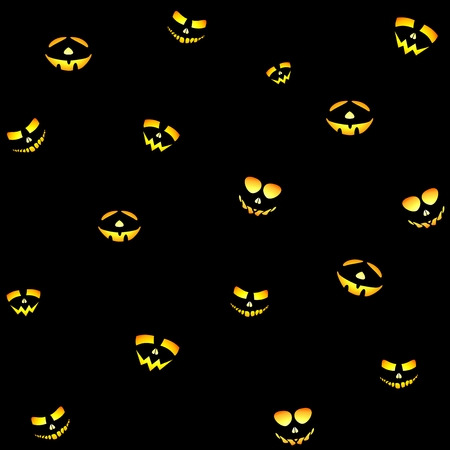 glowing carved: The yellow-orange illuminating the Halloween smiling face on a black background Illustration