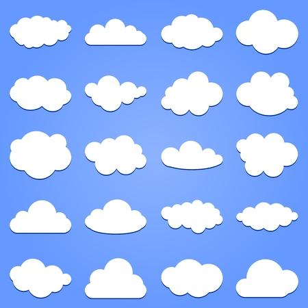青色の背景の影と白い雲のセット