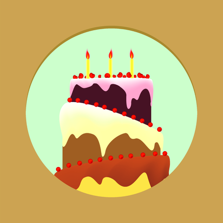 torte: Birthday cake with topping a blue circle and gold background