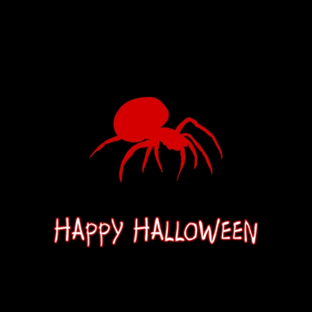 Halloween greeting with red spider at the center on a black background