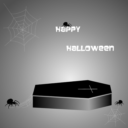 cobwebs: Halloween greeting with a coffin with gold cross, spiders and cobwebs on black background Illustration