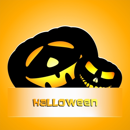 glowing carved: Two black laughing pumpkins for the Halloween strip on an orange background Illustration