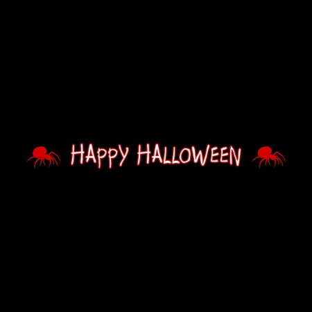 arachnophobia: Halloween greeting with the word Happy Halloween with a red spider on the side on a black background