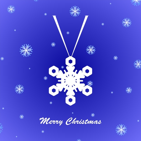 snow fall: Blue Christmas greeting with suspended white snowflakes and snow fall