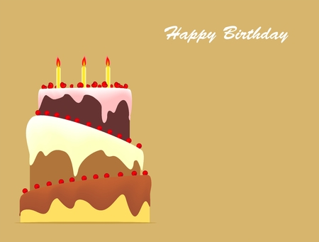 torte: Birthday cake with three candles and topping on gold background Illustration