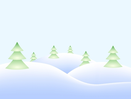 Winter landscape with snowy hills and snowy coniferous trees
