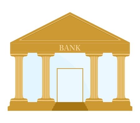 edificio banco: Edificio del Banco de oro con columnas, escaleras, puerta del banco inscripci�n techo y pared de cristal Vectores
