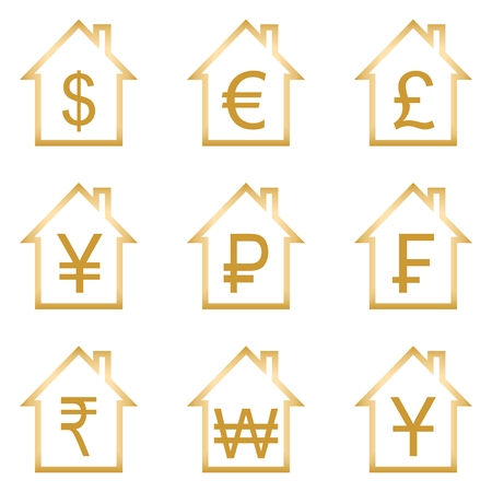 edifice: Set of golden symbols of global financial currencies in brown contours home