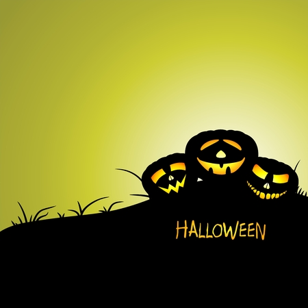 illuminating: Halloween greeting with three illuminating pumpkins on a hill with grass with the inscription Halloween with green background
