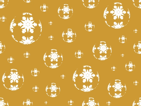 balls decorated: Golden Christmas background with golden Christmas balls decorated with white snowflakes Illustration