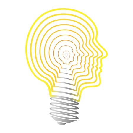 yellow bulb: Yellow bulb contours created from yellow heads on a white background Illustration