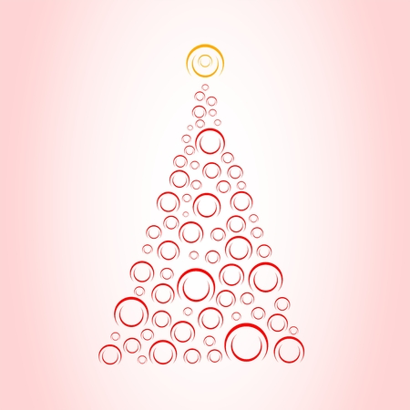 Pink Christmas card with Christmas tree from red rings from the top of the orange rings