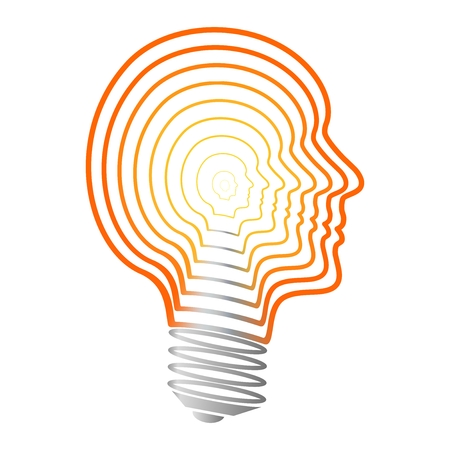 brittle: The bulb of orange and yellow contours of human faces with gray thread on a white background