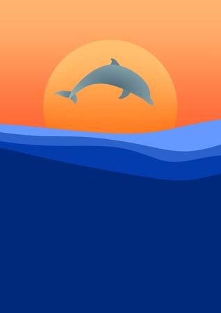 orange sky: Dolphin jumping above sea level at sunset with orange sun and orange sky Illustration