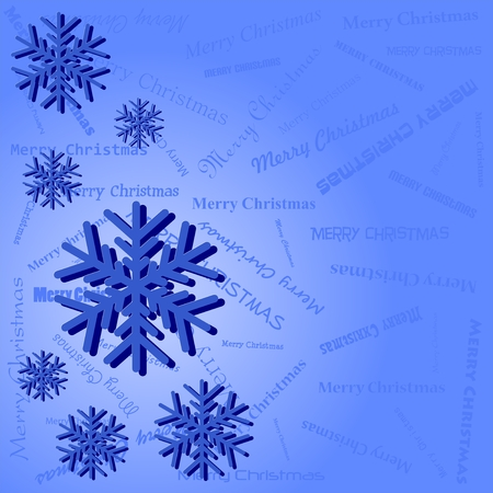 rime frost: Blue winter Christmas background with blue snowflakes left with shadow on blue background with lettering Merry Christmas