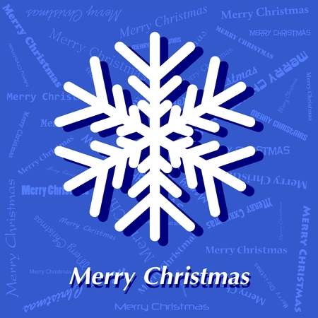 rime frost: Blue Christmas card with white snowflakes and white Merry Christmas lettering with shadow on blue background with blue lettering Merry Christmas