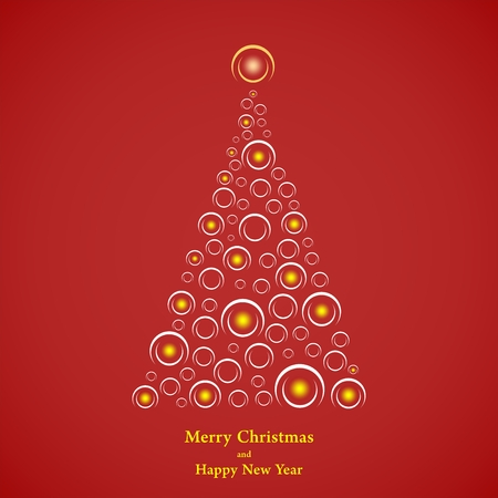 Red Christmas background with Christmas tree with white semicircle of yellow flashing lights inside the little light shining on top and yellow lettering Merry Christmas and Happy New Year